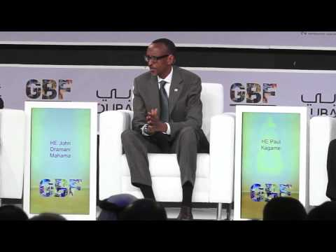 President Kagame speaking to business leaders at the Global Business Forum in Dubai