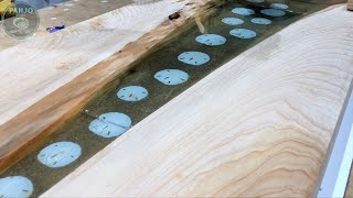 Make a Wood Table that Looks Like the Beach using Epoxy Resin and Glow in the Dark Powder