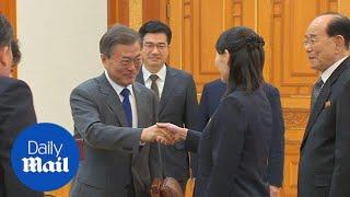 South Korean President meets Kim Jong-Un's sister Kim Yo-Jong - Daily Mail