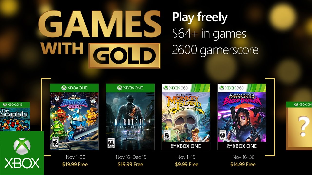 Xbox Free Games November 2020.Xbox November Games With Gold