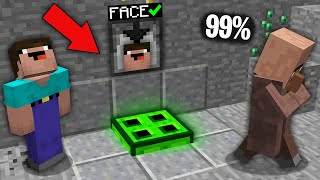 Minecraft NOOB vs PRO:99% VILLAGERS CANT OPEN THIS INFECTED TRAPDOOR WITH FACE SCANNER!100% trolling