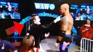 Wrestler Attacks Fan in the Crowd!