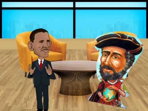 Ferdinand Magellan being interviewed by JP