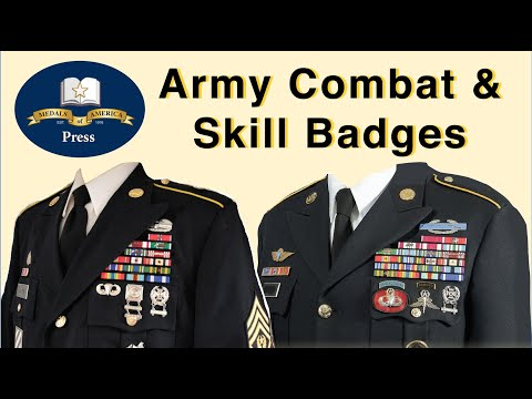 Army Combat, Skill And Marksmanship Badges With Uniform Examples.
