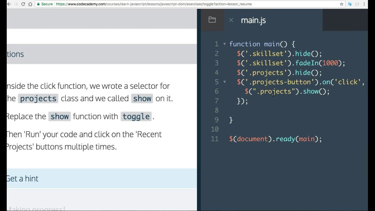 Learn Javascript, toggle, Javascript and the DOM, Codecademy
