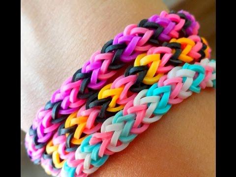 Bracelet elastique duo en rainbow loom bands tuto faci doovi - Comment faire bracelet elastique ...