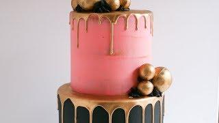 Gold Sphere Gold Drip Cake Tutorial Rosie S Dessert Spot