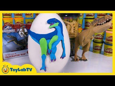 Giant Jurassic World Dinosaur Play Doh Surprise Egg with Velociraptor Blue Toy by ToyLabTV