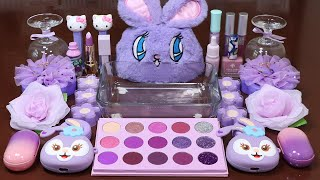 """Mixing""""Purple Rabbit"""" Eyeshadow and Makeup,parts,glitter Into Slime!Satisfying Slime Video!★ASMR★"""