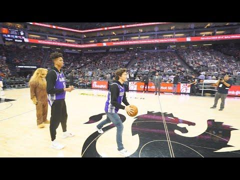 HALF COURT CHALLENGE IN FRONT OF 15,000 PEOPLE! NBA ARENA