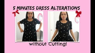 QUICK DIY 5 MINUTES SIMPLE DRESS ALTERATIONS WITHOUT CUTTING, SEWING PROJECT FOR BEGINNERS