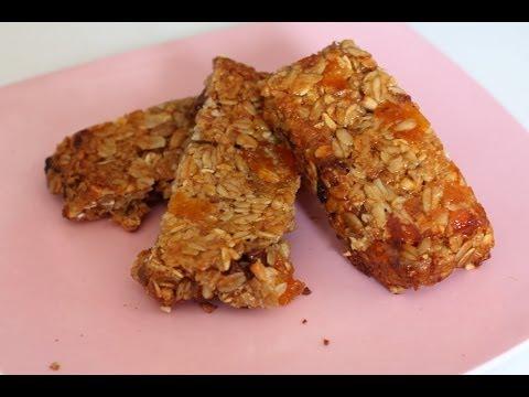 Barritas energéticas de cereales (Granola, muesli). Homemade energy bar recipe. EcoDaisy.