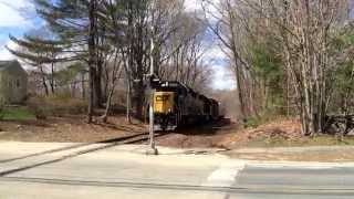 CSX B731 crossing Farm Road in Sherborn MA ( 4/24/15 )