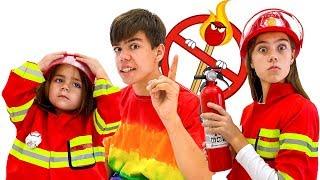Nastya, Artem und Mia   Feuerwehrmann und für Kinder gefährliche Streichhölzer