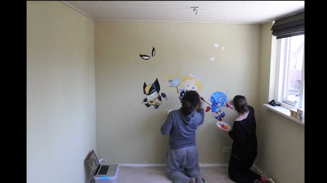 Marvel baby superheroes - Baby room wall painting - YouTube