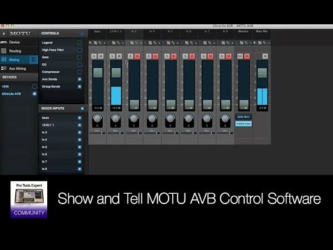 Show and Tell MOTU AVB Control Software