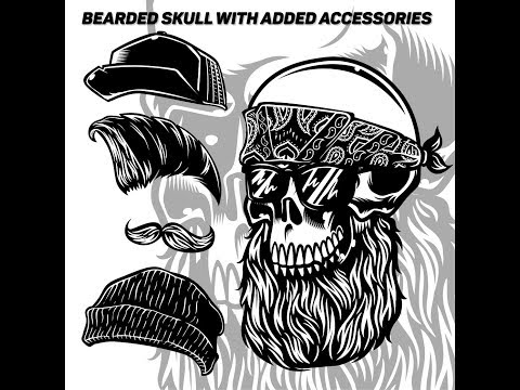 Long beard skull illustration and accessories vector graphic tees - adobe illustrator cc