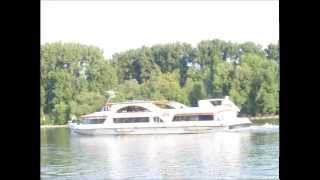 Rheinschiffe vor dem Campingplatz Brückenschänke in Eltville im Rheingau
