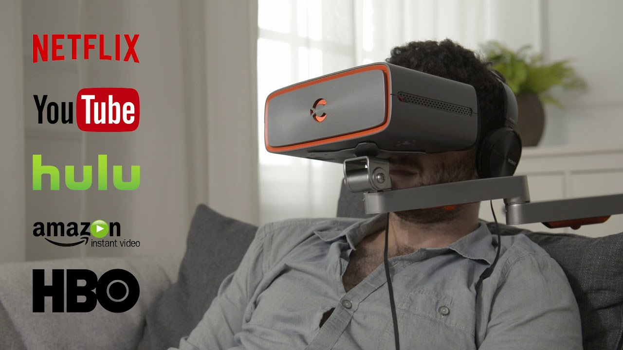The Cinera Video Headset Comes with a Handsfree Mount