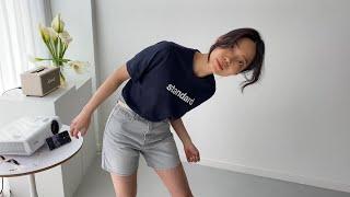 여자봄코디 레터링반팔티 4부그레이진   사색 쇼핑몰 촬…