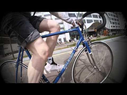 Riding my vintage Raleigh bike.