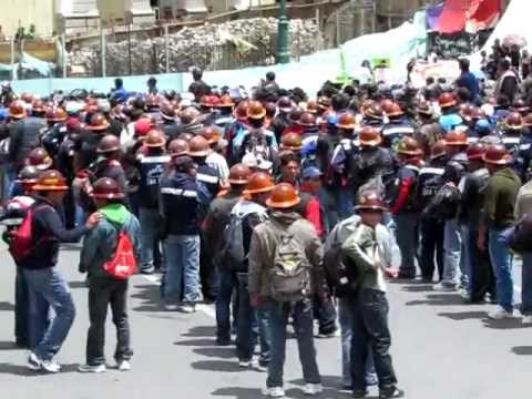 Miners Set Off Detonators In La Paz Bolivia March/Protest