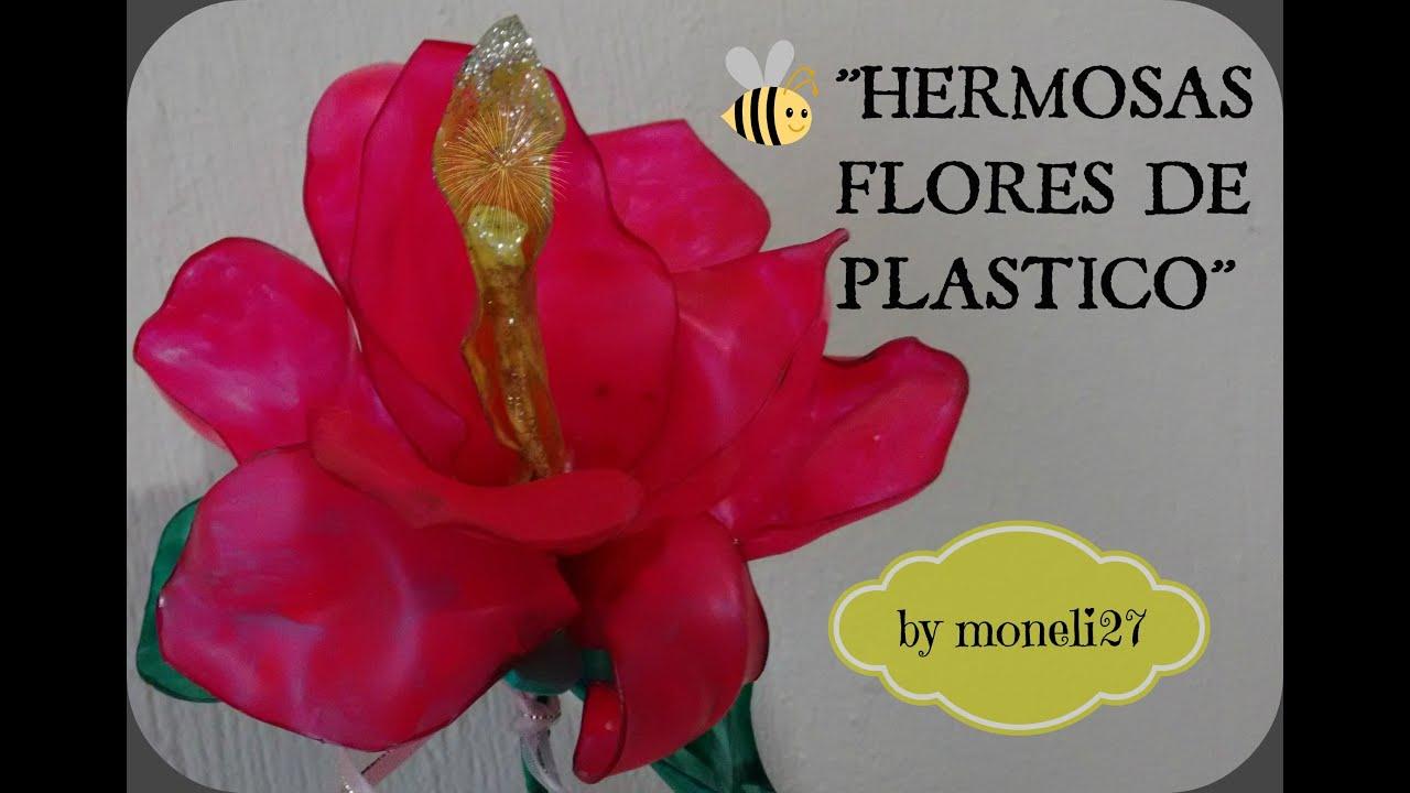 Diy como hacer una flor de plastico pet viyoutube for Plantas decorativas de plastico