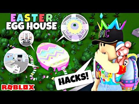 I MADE AN EASTER EGG HOUSE USING BUILDING HACKS! Roblox | Bloxburg Speedbuild & Tour