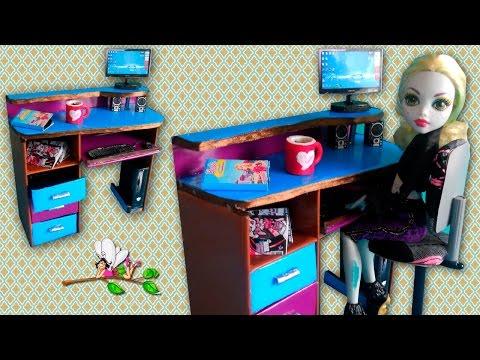 Как сделать КОМПЬЮТЕРНЫЙ СТОЛ для кукол Monster High, Barbie / Muza Rukodeliya 🌺