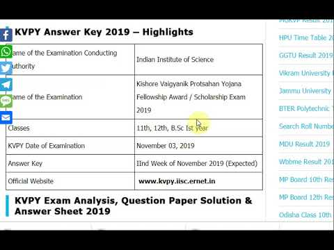 KVPY Answer Key Exam November 03, 2019 - IISC Kishore Vaigyanik Protsaha...