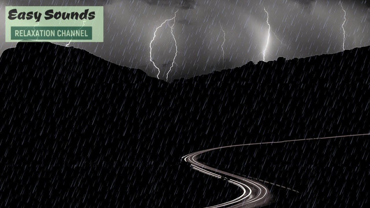 Heavy Rain and MASSIVE Thunder (Non Stop) in the COLD mountains-DARK SCREEN-Sleep Sounds-