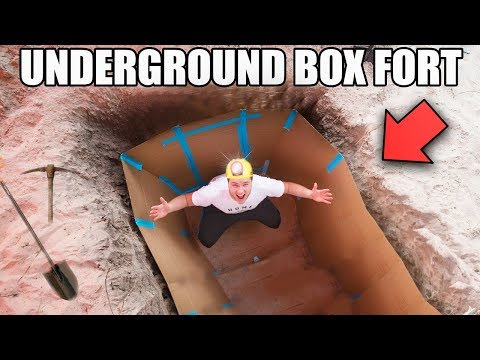 UNDERGROUND BOX FORT BUNKER!!📦