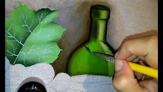 Pintura em tecido – garrafa de vidro verde