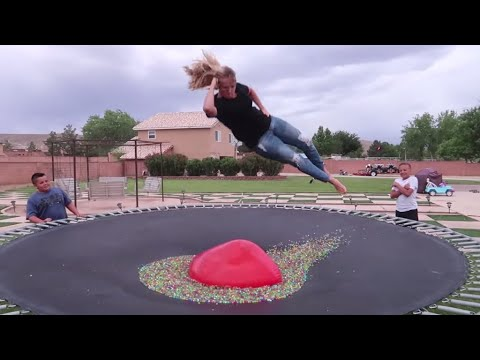 WILL IT POP?! Epic Trampoline Tricks
