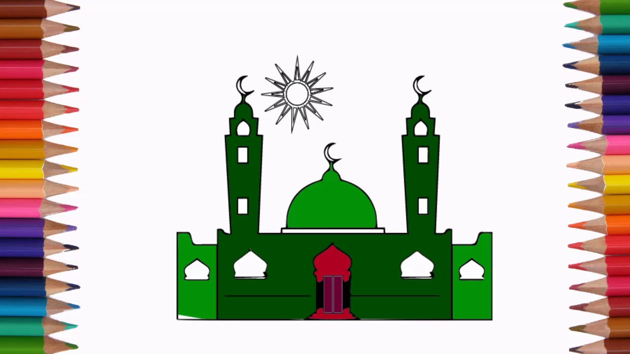 How to Draw Mosque Coloring Pages for Kids Children Learn Colors ...