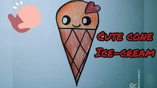 ice cream drawing easy cone cartoon tutorial