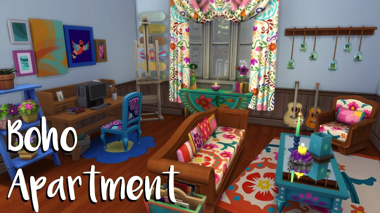 The Sims 4: Speed Build: BOHO APARTMENT NO CC - YouTube