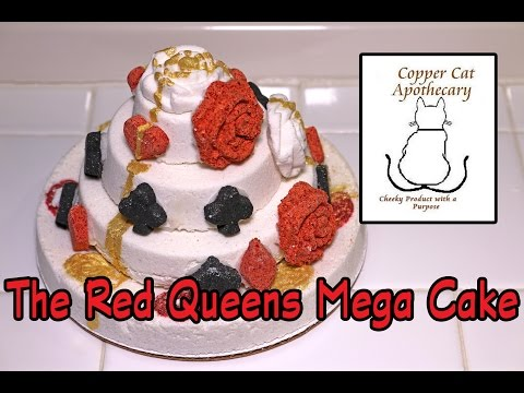 Copper Cat Apothecary - Red Queen's MEGA Cake Bath Bomb - DEMO - Underwater - REVIEW - SLOW MOTION