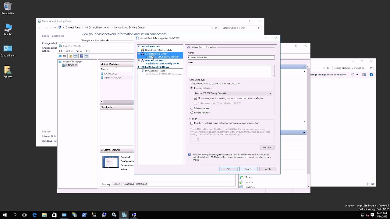 Windows 2016 Hyper-V - Relationship Between VM IP Address, Virtual Switch  and Network Cards
