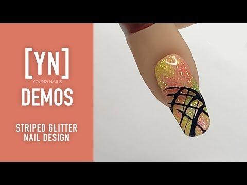 Young Nails Nail Demo - Striped Glitter Nail Design - Gel Nails thumbnail