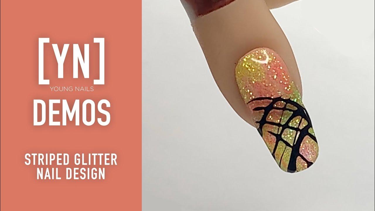 Young Nails Nail Demo - Striped Glitter Nail Design - Gel Nails