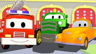 Tom the Tow Truck with his friends Franck the Fire Truck and Ben the Tractor in Car City 🚑🚜🚒