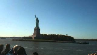 Ferry to Statue of Liberty and view of Manhattan, New York including Freedom Tower