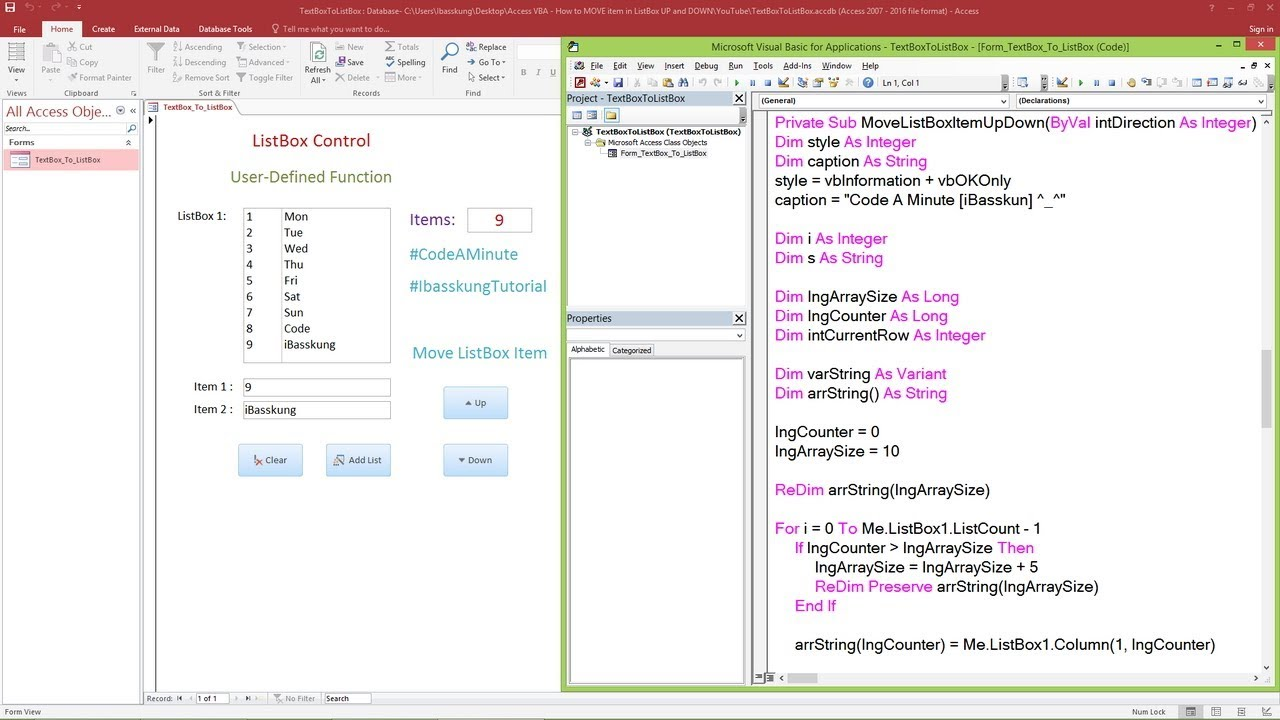 Access VBA - How to MOVE item in ListBox Up and Down Part 1/2