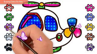 How To Draw Helicopter | Drawing Cartoon Helicopter Easy Step By Step | Drawing Colors For Kids