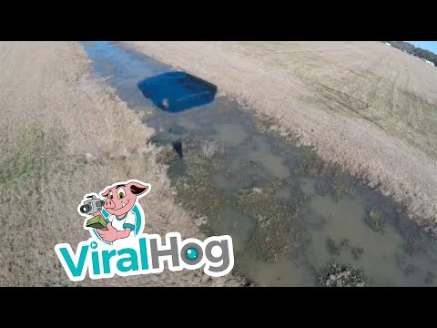 Wet Landing for Parachutist || ViralHog