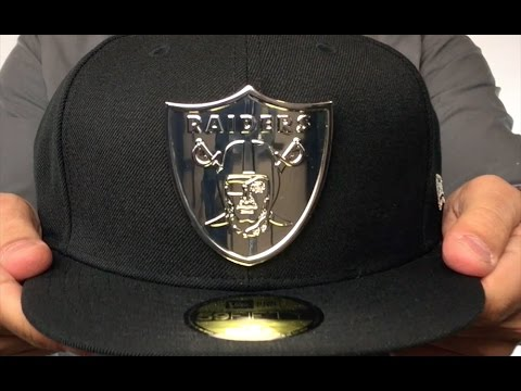 promo code b064b 9d505 Raiders  SILVER METAL-BADGE  Black Fitted Hat by New Era