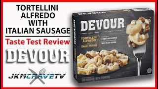 FROZEN FRIDAY - DEVOUR Tortellini Alfredo w/Italian Sausage Taste Test Review | JKMCraveTV