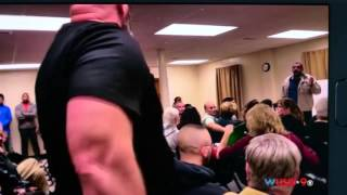 Roided up Thug threatens  Muslims at Virginia town hall meeting about Mosque