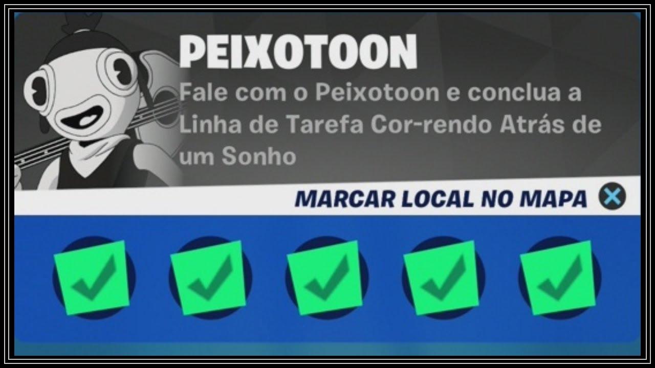 COMO COMPLETAR A LINHA DE TAREFAS DO PEIXOTOON - FORTNITE